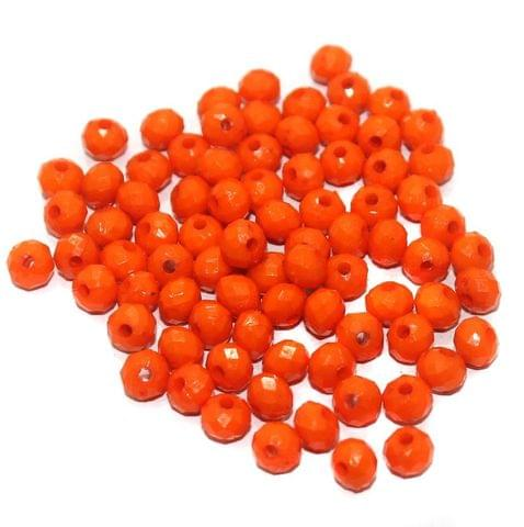 100 Gm Acrylic Crystal Faceted Roundell Beads Orange 6x5 mm