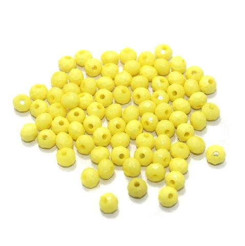 100 Gm Acrylic Crystal Faceted Roundell Beads Yellow 6x5 mm