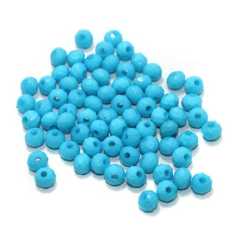 100 Gm Acrylic Crystal Faceted Roundell Beads Sky Blue 6x5 mm