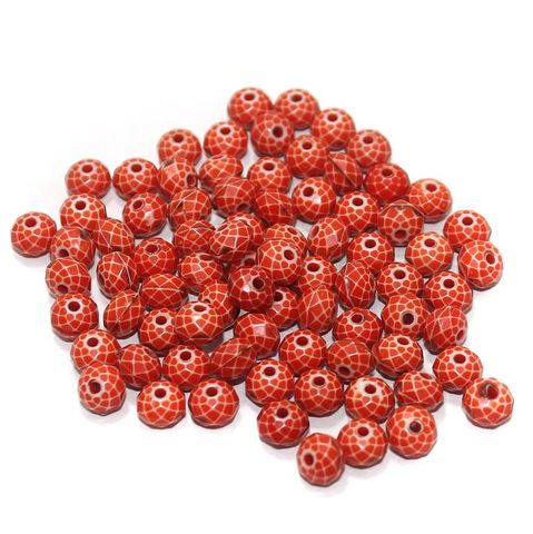 100 Gm Acrylic Crystal Faceted Roundell Beads Red 6x4 mm