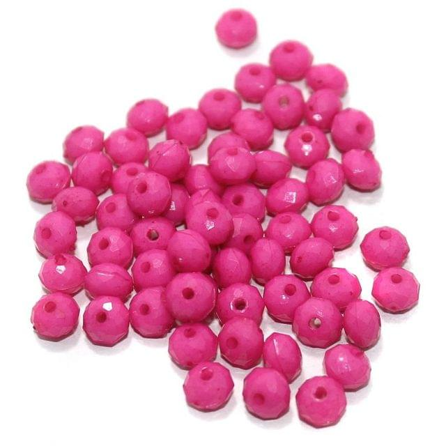 100 Gm Acrylic Crystal Faceted Roundell Beads Hot Pink 6x5 mm
