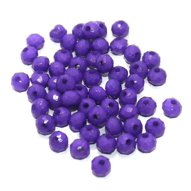 100 Gm Acrylic Crystal Faceted Roundell Beads Purple 6x5 mm