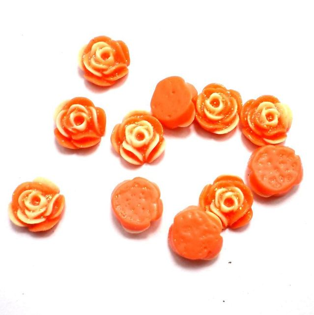 100 Resin Ear Ring Rose Components Orange With Out Hole 10 mm