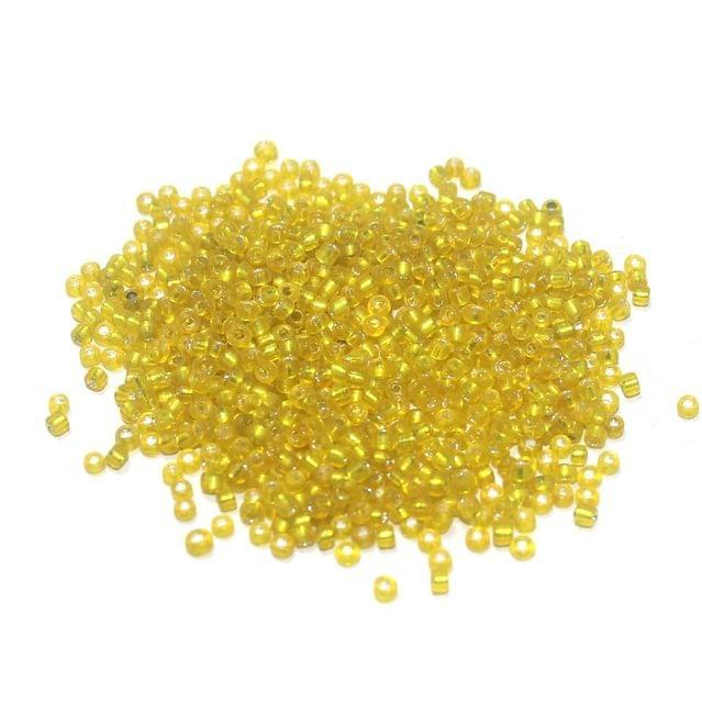 Silver Line Seed Beads Yellow (100 Gm), Size 11/0