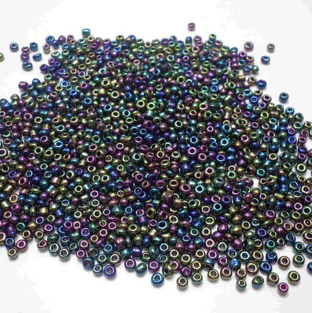 100 Gm Seed Beads Black Rainbow 11/0 size