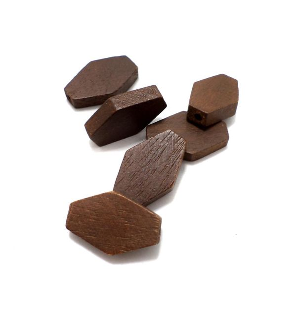 50 Pcs. Wooden Flat Diamond Beads Chocolate 26x18 mm