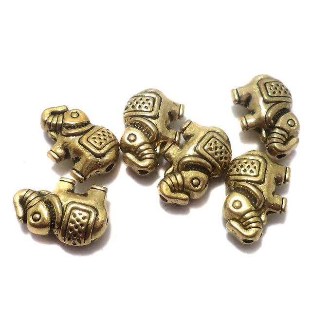 50 Pcs. German Silver Elephant Beads Golden 12x8 mm
