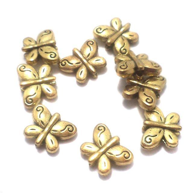 50 Pcs. German Silver Butterfly Beads Golden 10x8 mm