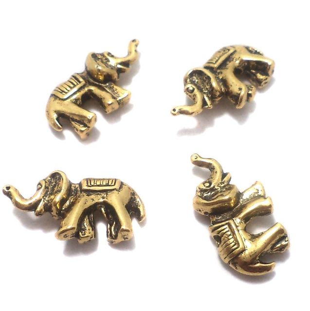 50 Pcs. German Silver Elephant Beads Golden 20x10 mm