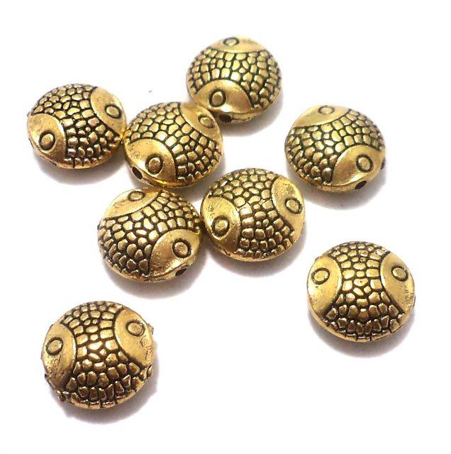 50 Pcs. German Silver Fish Beads Golden 10 mm