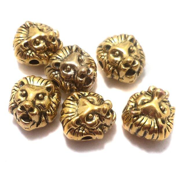 20 Pcs. German Silver Lion Beads Golden 12x11 mm