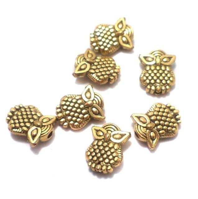 100 Pcs. German Silver Owl Beads Golden 10x8 mm