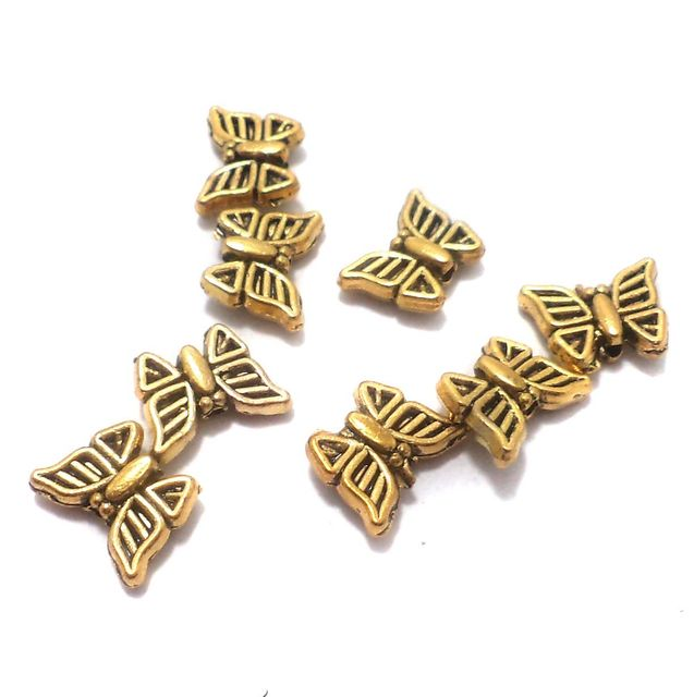 50 Pcs. German Silver Butterfly Beads Golden 11x8 mm