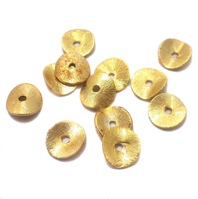 200 Pcs. German Silver Brushed Disc Beads Golden 8 mm