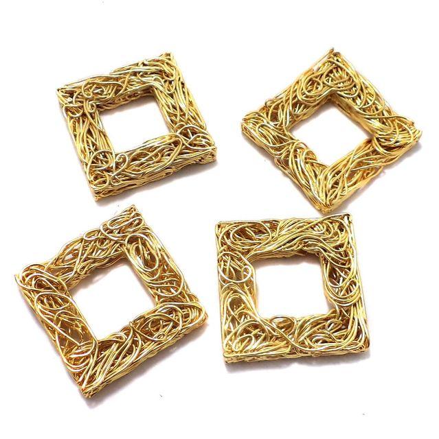 10 Pcs. German Silver Wire Mesh Beads Golden 27x5 mm
