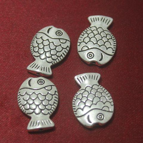 20 Pcs. German Silver Fish Beads 25x16 mm
