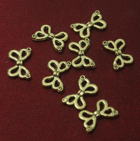 100 Pcs. German Silver Butterfly Beads Golden 15x10 mm