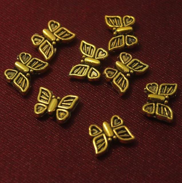 100 Pcs. German Silver Butterfly Beads Golden 10x8 mm