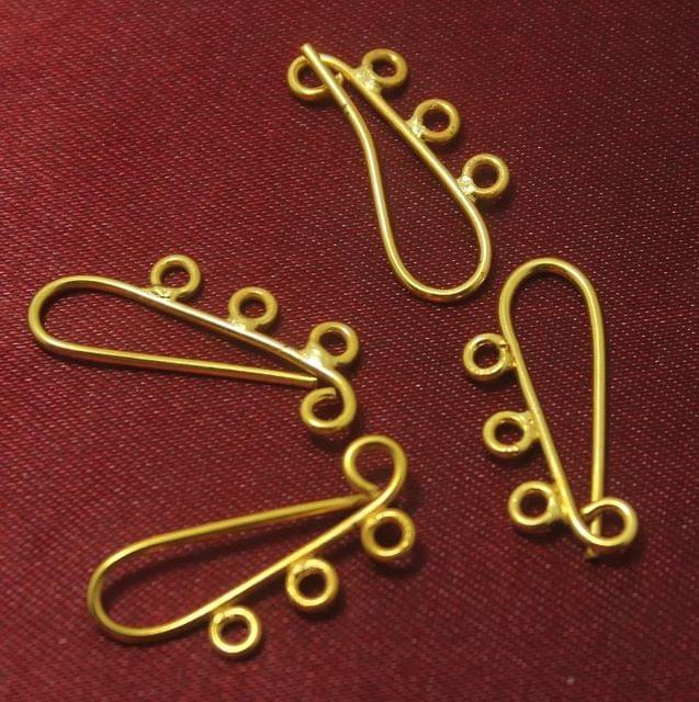 50 Pcs. German Silver Ear Wire Golden 25x12 mm