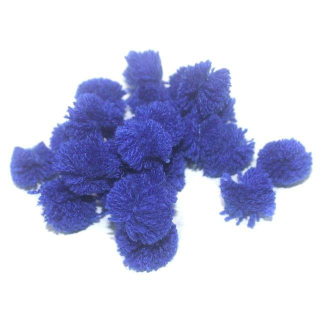 200 Pcs. Pom Pom Round Beads Blue 15 mm