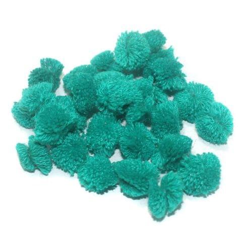 200 Pcs. Pom Pom Round Beads Green 15 mm
