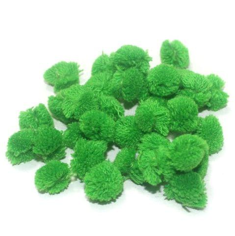 200 Pcs. Pom Pom Round Beads Parrot Green 15 mm