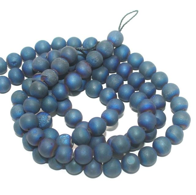 Druzy Stone Round Beads Blue 8 mm, Pack Of 2 Strings