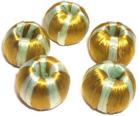 10 Crochet Round Beads Golden 16 mm