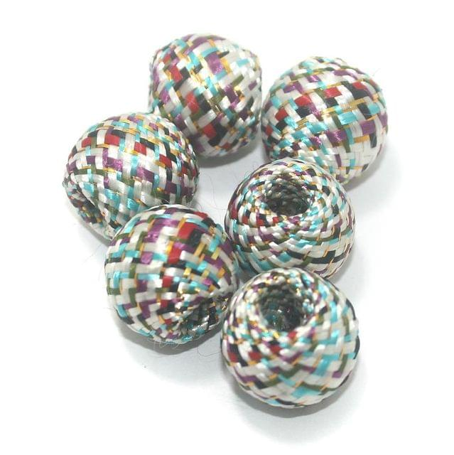 25 Pcs Crochet Round Beads Multi Color 19x17 mm