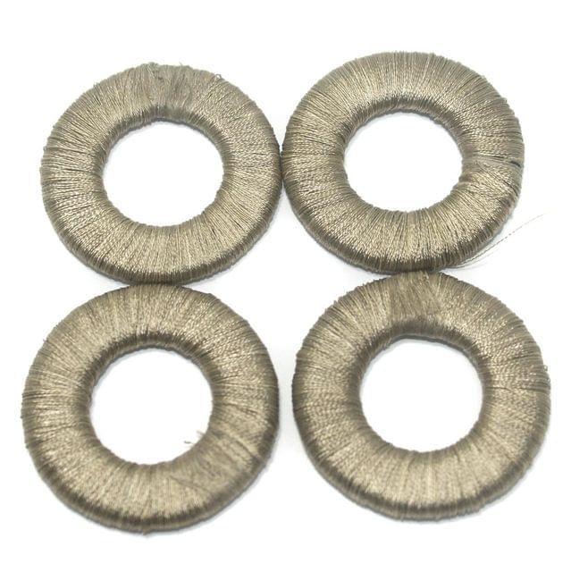 25 Pcs. Crochet Ring Grey 40 mm