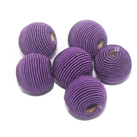 25 Pcs Crochet Round Beads Purple 22x19 mm