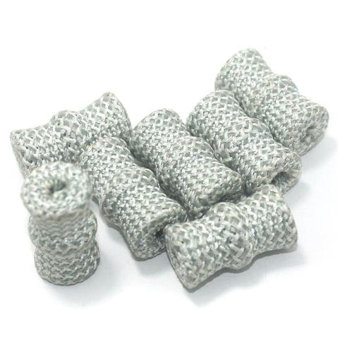 25 Pcs Crochet Tube Beads Silver 29x17 mm