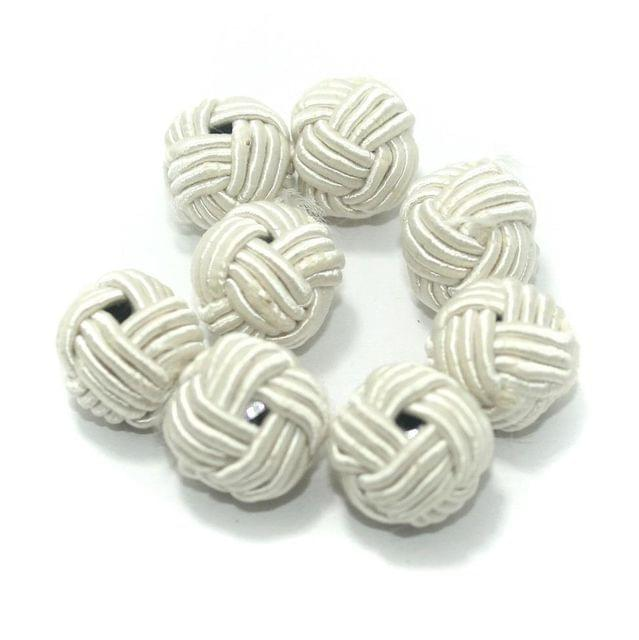 25 Pcs Crochet Round Beads White 16 mm