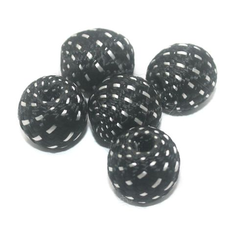 25 Pcs Crochet Round Beads Black 22 mm