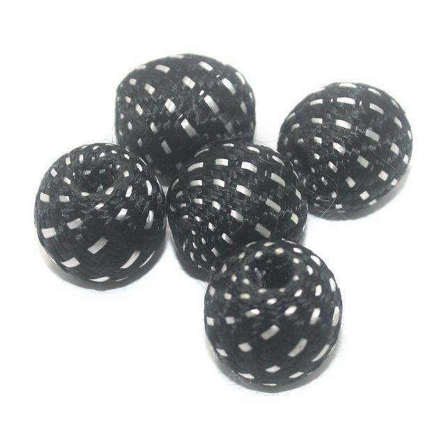 25 Pcs Crochet Round Beads Black 22 mm