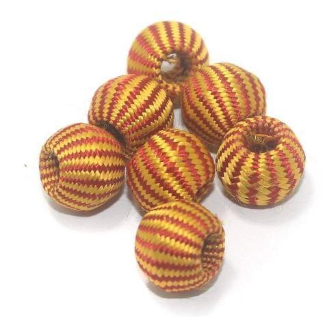 25 Pcs Crochet Round Beads Yellow & Red 16x13 mm