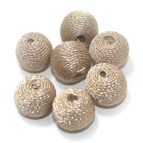 25 Pcs Crochet Round Beads Golden 14x17 mm