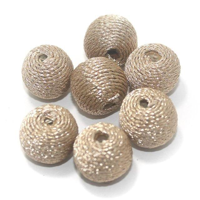 25 Pcs Crochet Round Beads Golden 14x17 mm