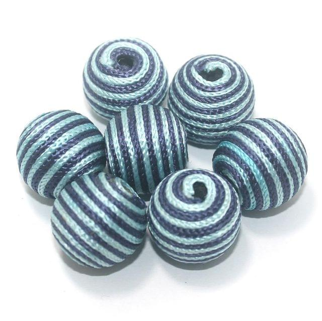 25 Pcs Crochet Round Beads Blue & White 21x20 mm