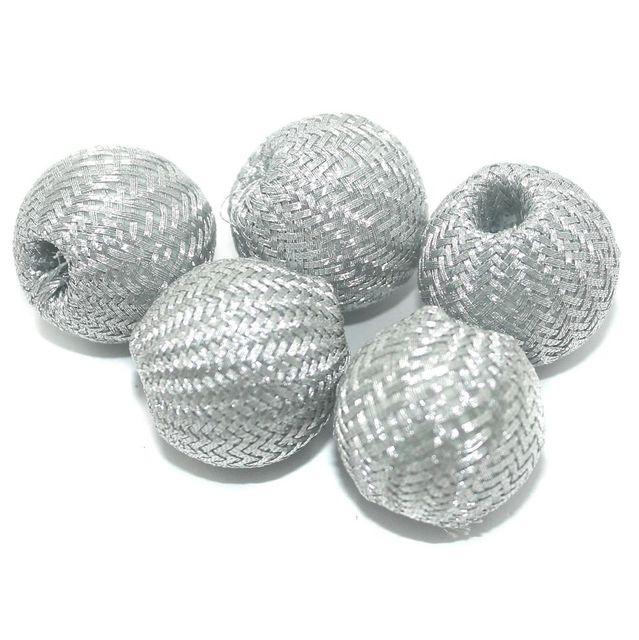 25 Pcs Crochet Round Beads Silver 21x23 mm