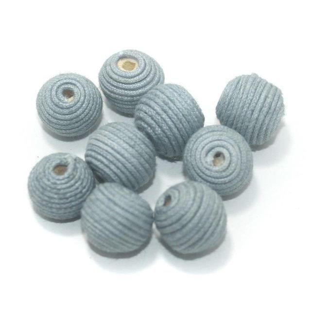 25 Pcs Crochet Round Beads Grey 17 mm
