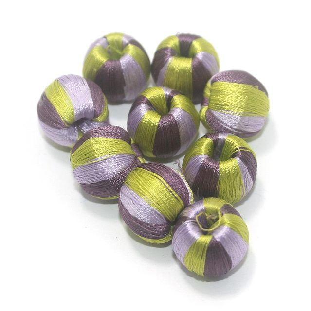 25 Pcs Crochet Round Beads Multi Color 15x16 mm