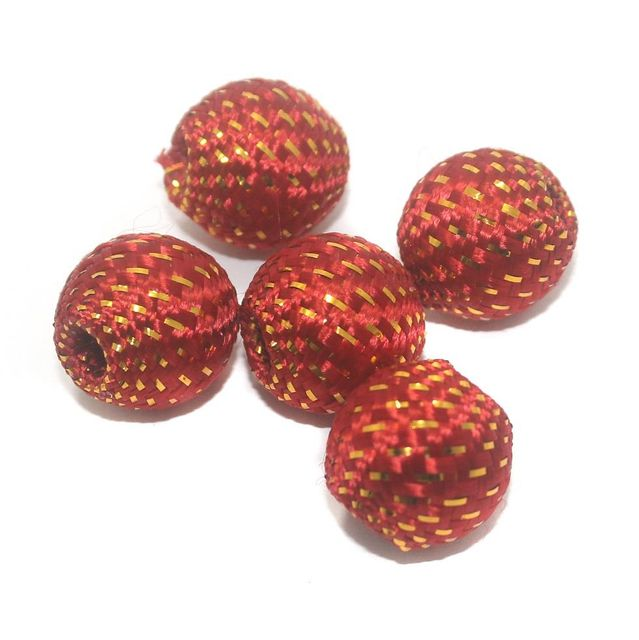25 Pcs Crochet Round Beads Red 20x21 mm