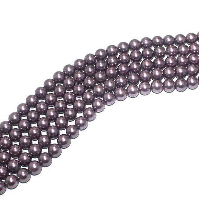 Shell Pearl Beads muave, Size 10mm, Pack Of 5 Strings