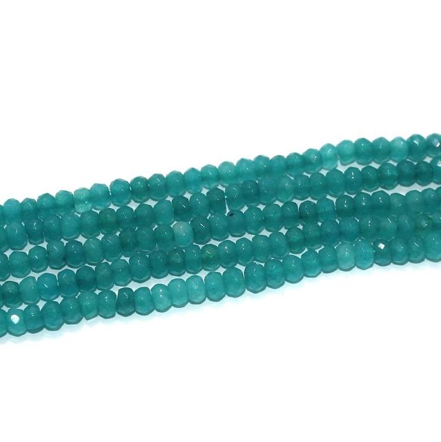 Faceted Onyx Stone Tyre Beads 3x4 mm Sea Green, Pack Of 2 Strings