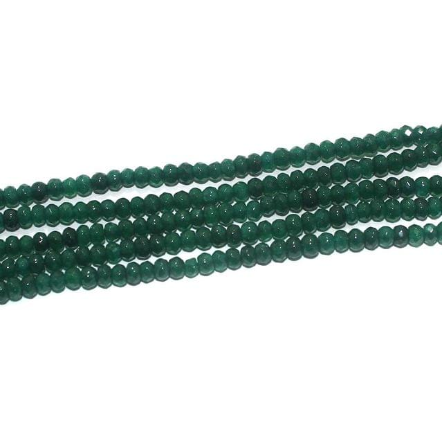 Faceted Onyx Stone Tyre Beads 3x4 mm Green, Pack Of 5 Strings