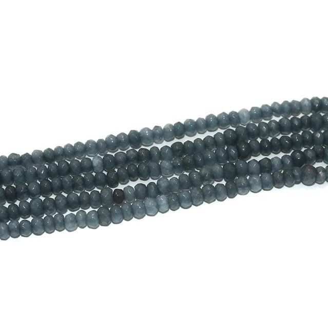 Faceted Onyx Stone Tyre Beads 3x4 mm Gray, Pack Of 5 Strings