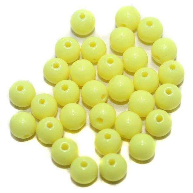 400 Acrylic Round Beads Yellow 5mm