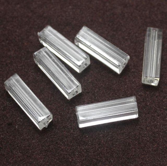 100 Acrylic Cube Beads Clear 20x5mm