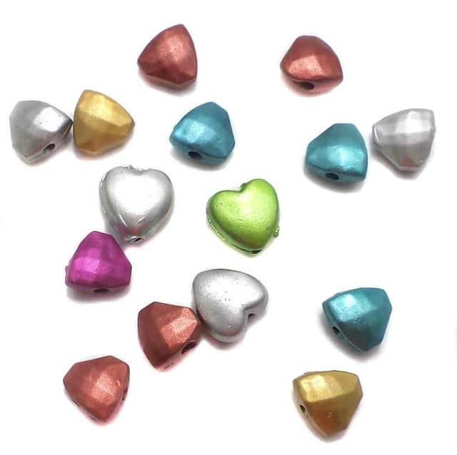 200 Gm Acrylic Heart Beads Assorted 6x4 mm
